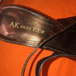 Anne Klein Sling back Animal print Leather pumps